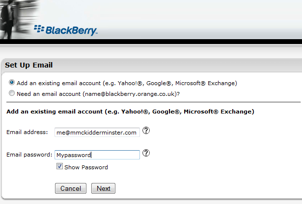Blackberry Oarnge BIS setup new email address